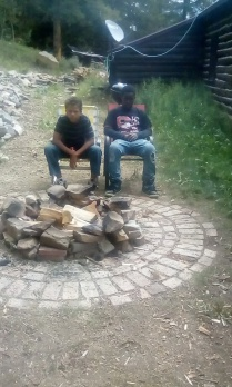 nicolas and ty at the cabin
