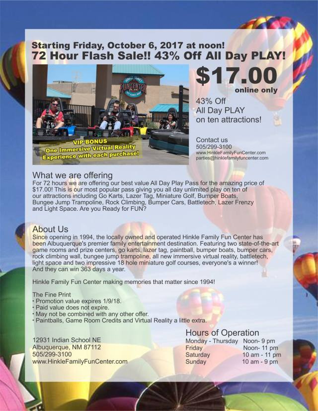 Hinkle Family Fun Center's 72 Hour Flash Sale starts now! | Family